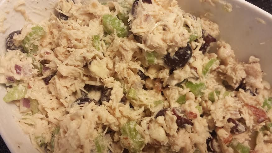 21 Day Fix approved chicken salad! Used plain nonfat Greek yogurt, celery, red grapes, red onion, salt and pepper. Simple, easy, and so tasty!!!