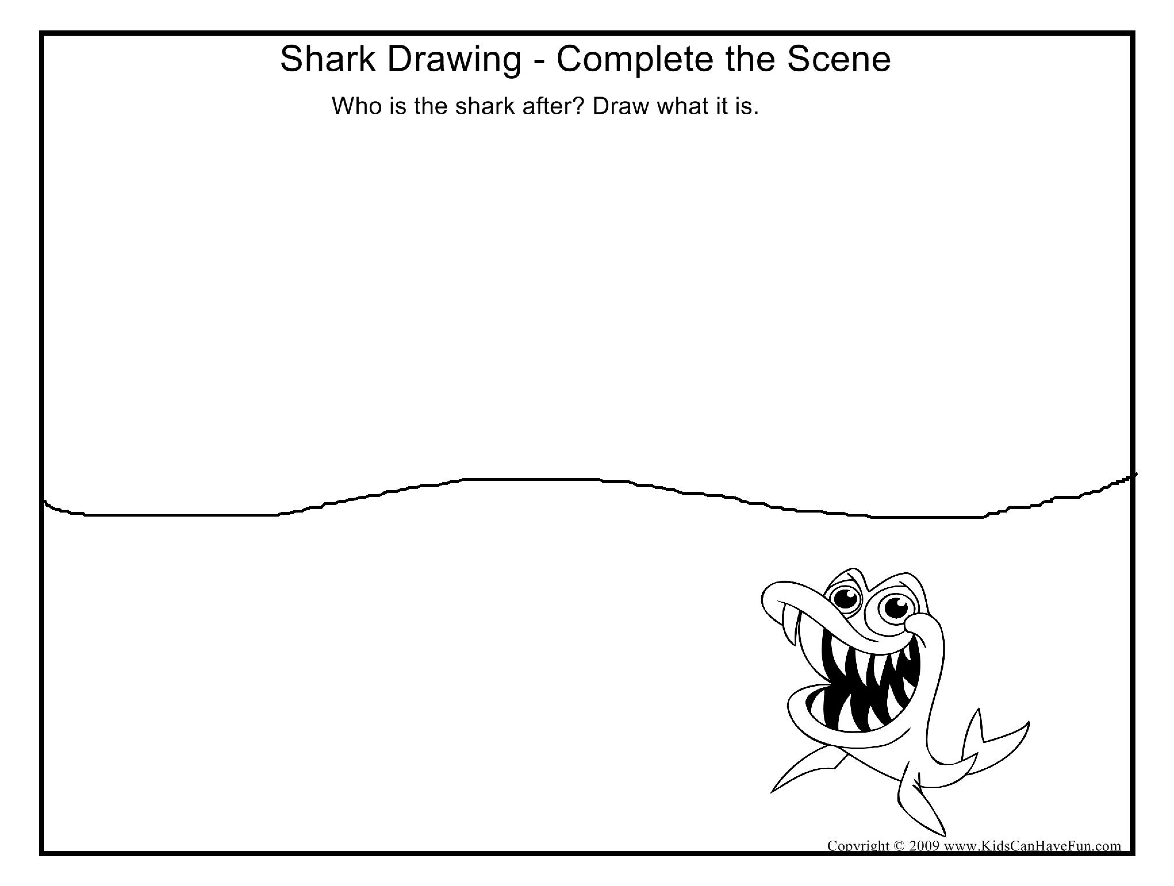Complete The Shark Drawing Worksheet