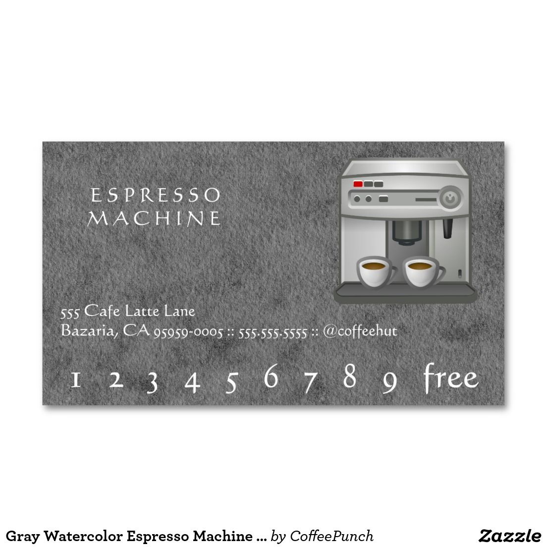 Gray Watercolor Espresso Machine Loyalty Punchcard Business Card Punch Cards Coffee Business Cards