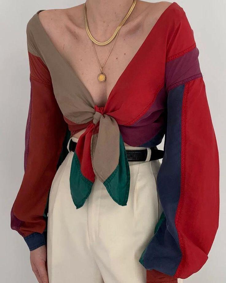 V-Neck Tie Contrast Color Blouse