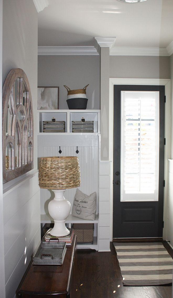 Small Mudroom With Grey Interior Door Painted In Benjamin Moore Wrought Iron Grey Interior Doors Interior Design Living Room Farmhouse Dining Room Rug