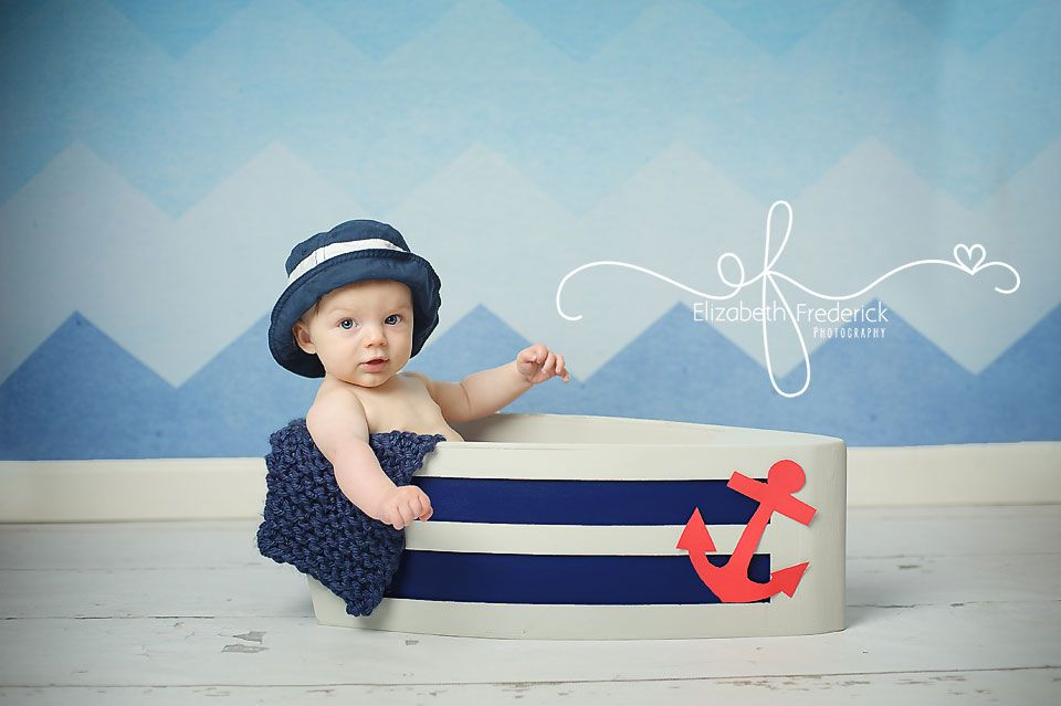 photography prop for boys and girls digital background Backdrop for Newborn Photography Nautical backdrop. Little Boat on the Sea