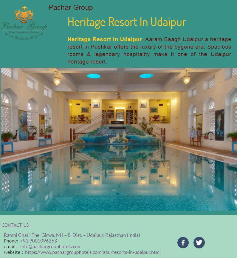 Heritage Resort in Udaipur. Aaram Baagh Udaipur a heritage