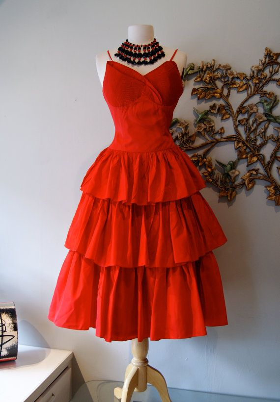 50s Dress / Vintage 1950s Red Taffeta Party Dress by xtabayvintage, $248.00