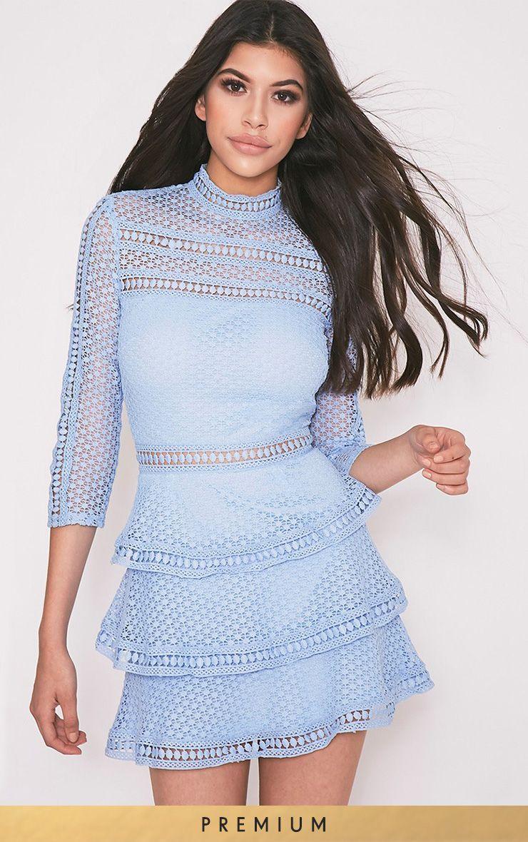 0fdbe51014 Caya Dusty Blue Lace Panel Tiered Mini Dress