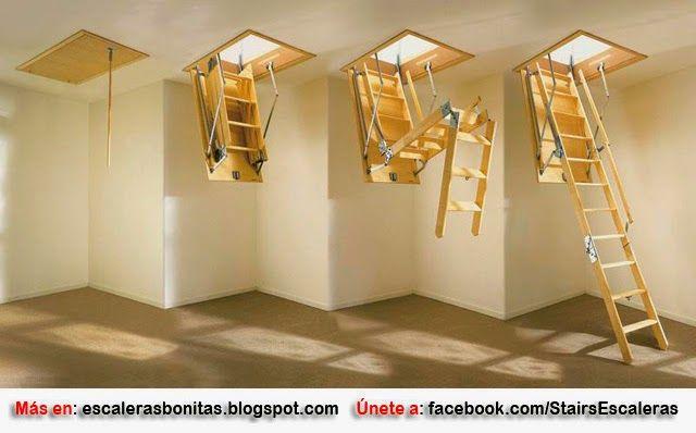 Escaleras retr ctiles para techo escalera pinterest for Escaleras para altillo
