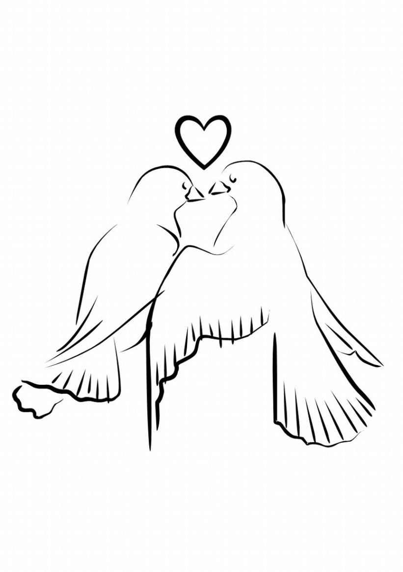 Coloring pages wedding theme - Used This Image In One Of My Pyrography Projects Wedding Doves Clipart Wedding Coloring