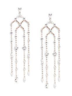 Nadri MultiTone Cubic Zirconia Chandelier Earrings Almost 4 150