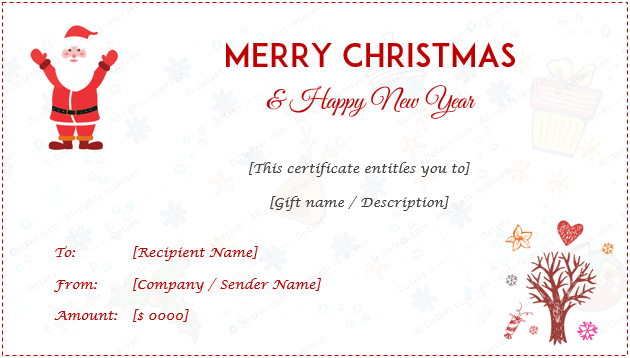 Christmas Gift Certificate Template For Kids  Gift Certificate