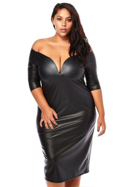 127e150a7426f Plus Size Sexy Plunging Shoulder Leather Dress
