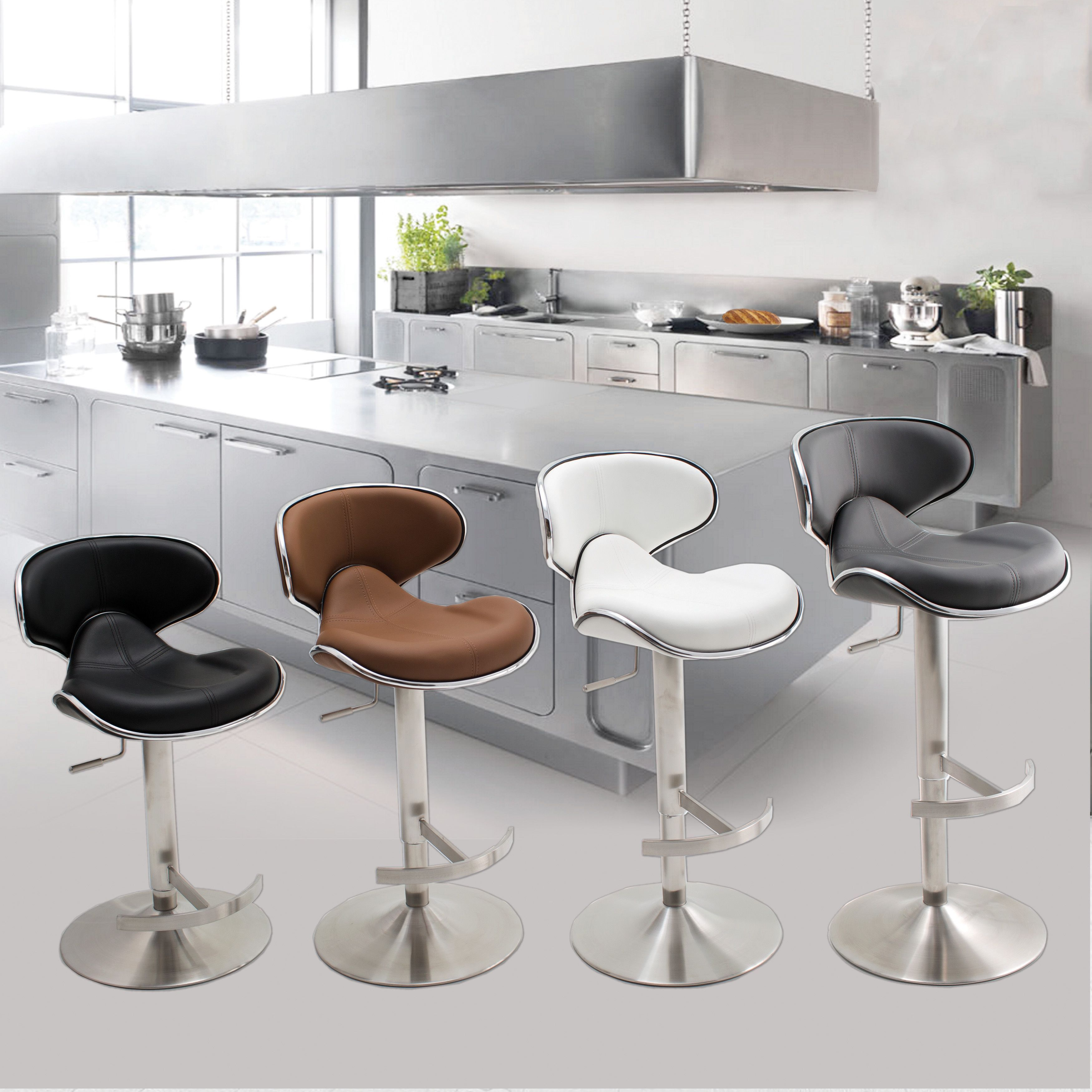 Mix Ecco Brushed Stainless Steel Adjule Height Swivel Bar Stool