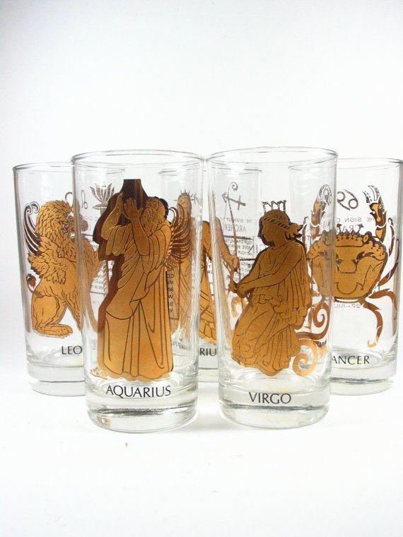 Horoscope Glassware Set Drinking Glasses Tumblers Zodiac Gold Glassware Glassware Set Vintage Glassware