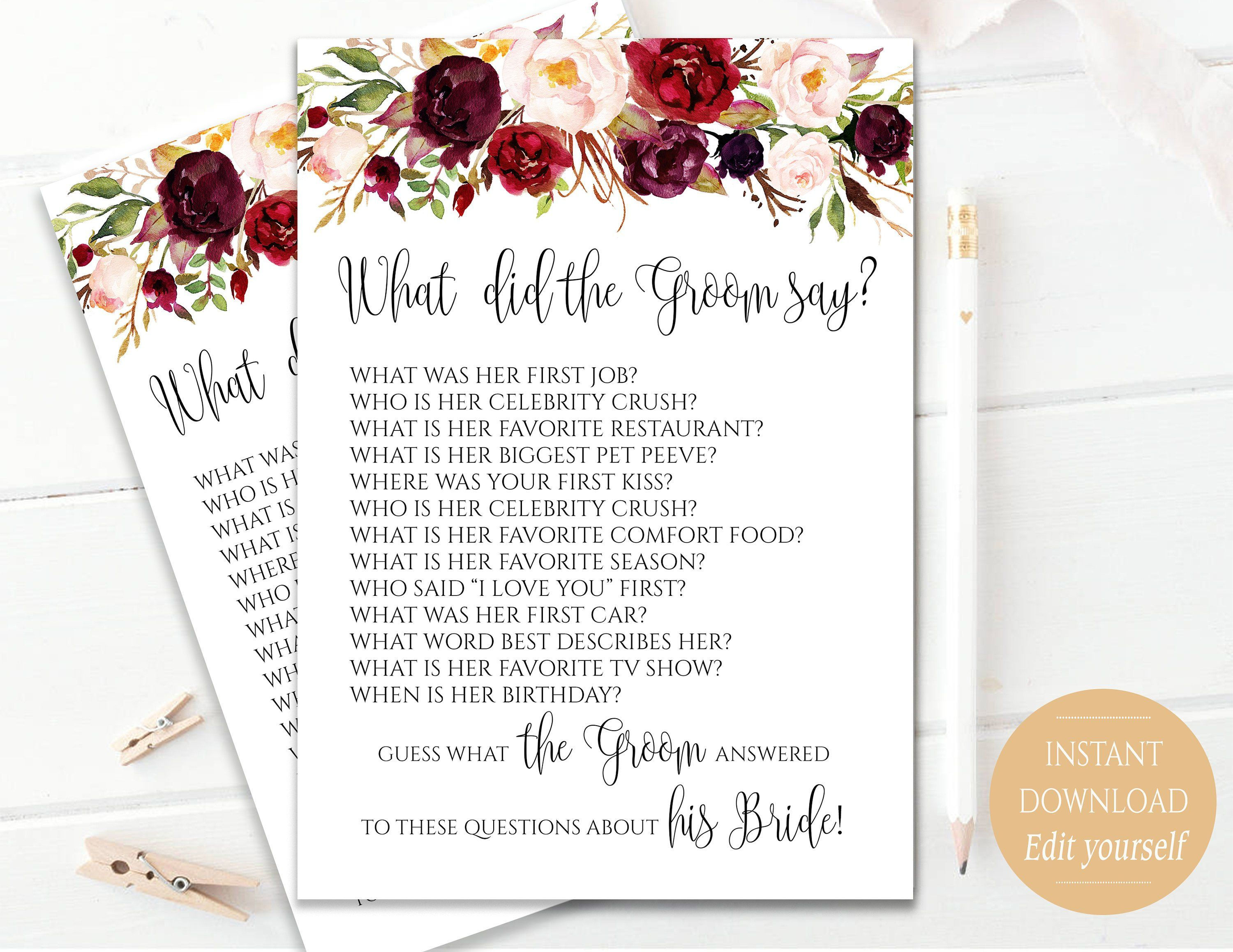 Editable what did the groom say game what did groom say