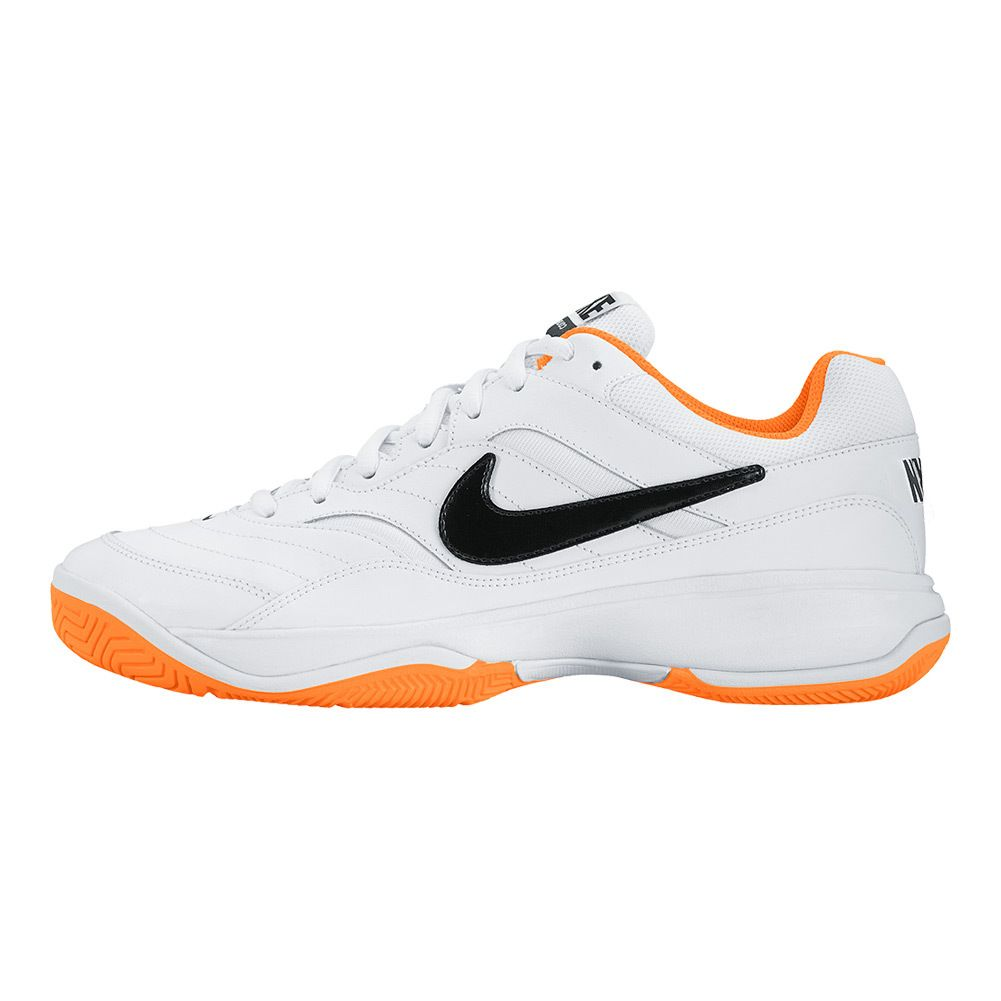 NIKE Men`s Court Lite Tennis Shoes White and Bright Citrus
