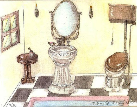 Vintage Toilet And Sink Watercolor Print Bathroom Art Victorian