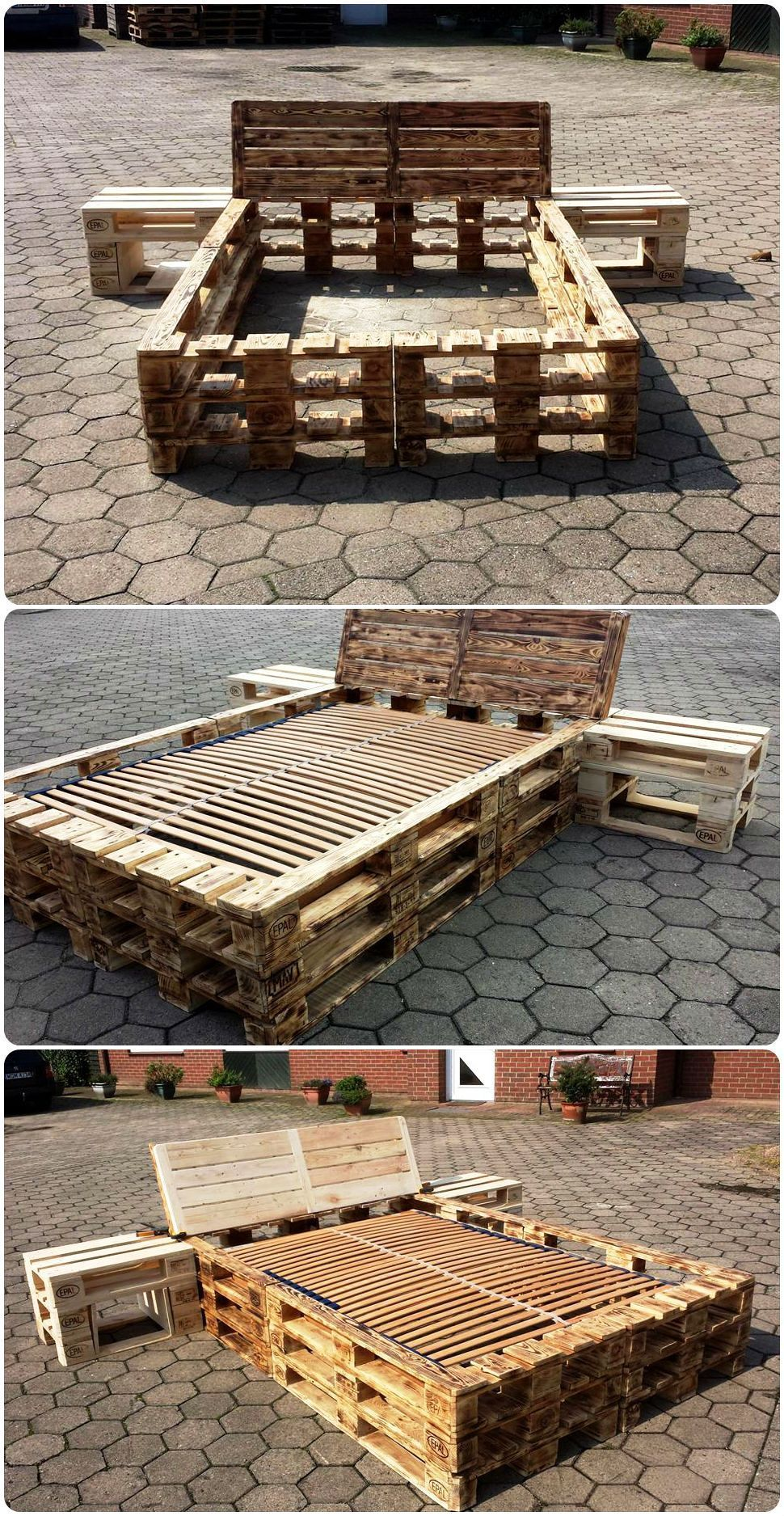 Diy pallet bed frame with nightstands pallet beds from pallet