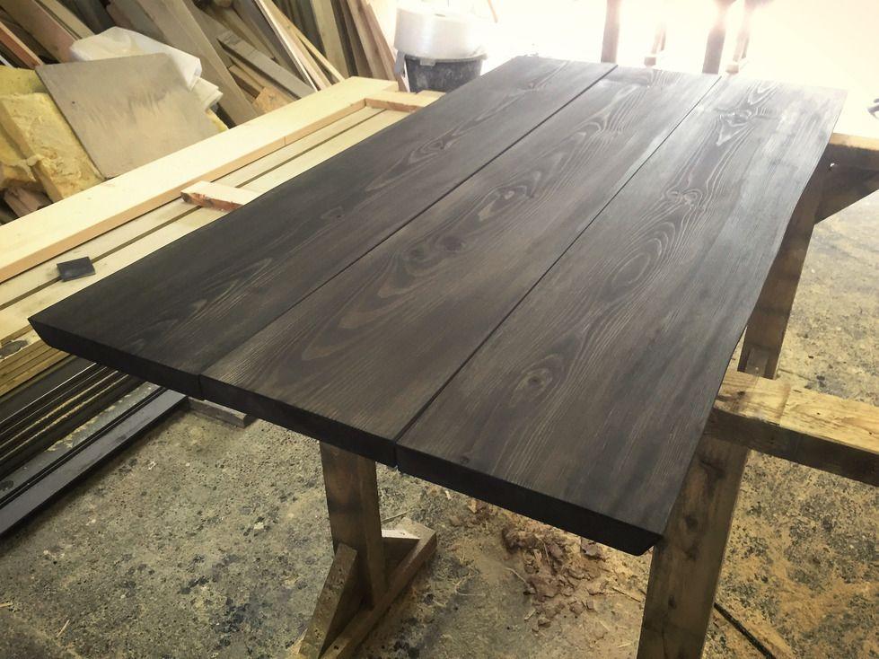 Her får I produktet af den sorte drivtømmer-nuance. Vi er helt vilde med farven og kan ikke få hænderne ned! :-) Plankerne skal monteres på vores A-ben i rå jern.  Vi glæder os til at vise jer det færdige produkt! :-) #depino #håndværk #elegant #rustikt #nordiskstil #plankeborde #plankebord #sortdrivtømmer #matlak #danskdesign #nordiskdesign #bolig #interior #plankebord #woodwork #wooddesign #custommade #nordicdesign #danishdesign #denmark #spisebord #home de depino_plankeborde