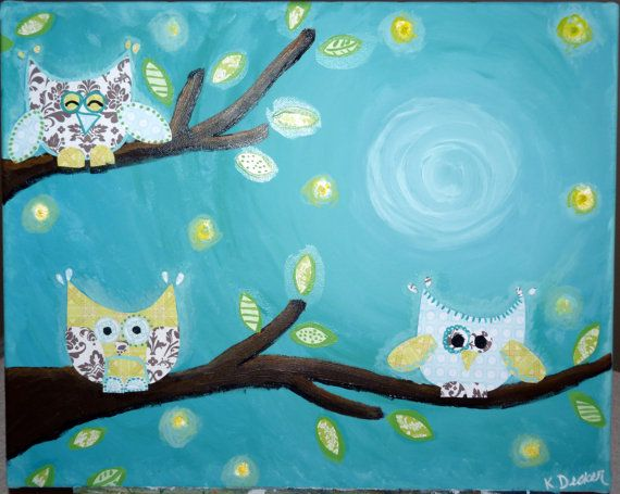 Nighty Night Owls Painting For Kid S Room Kids Art Projects Painting For Kids Owl Crafts