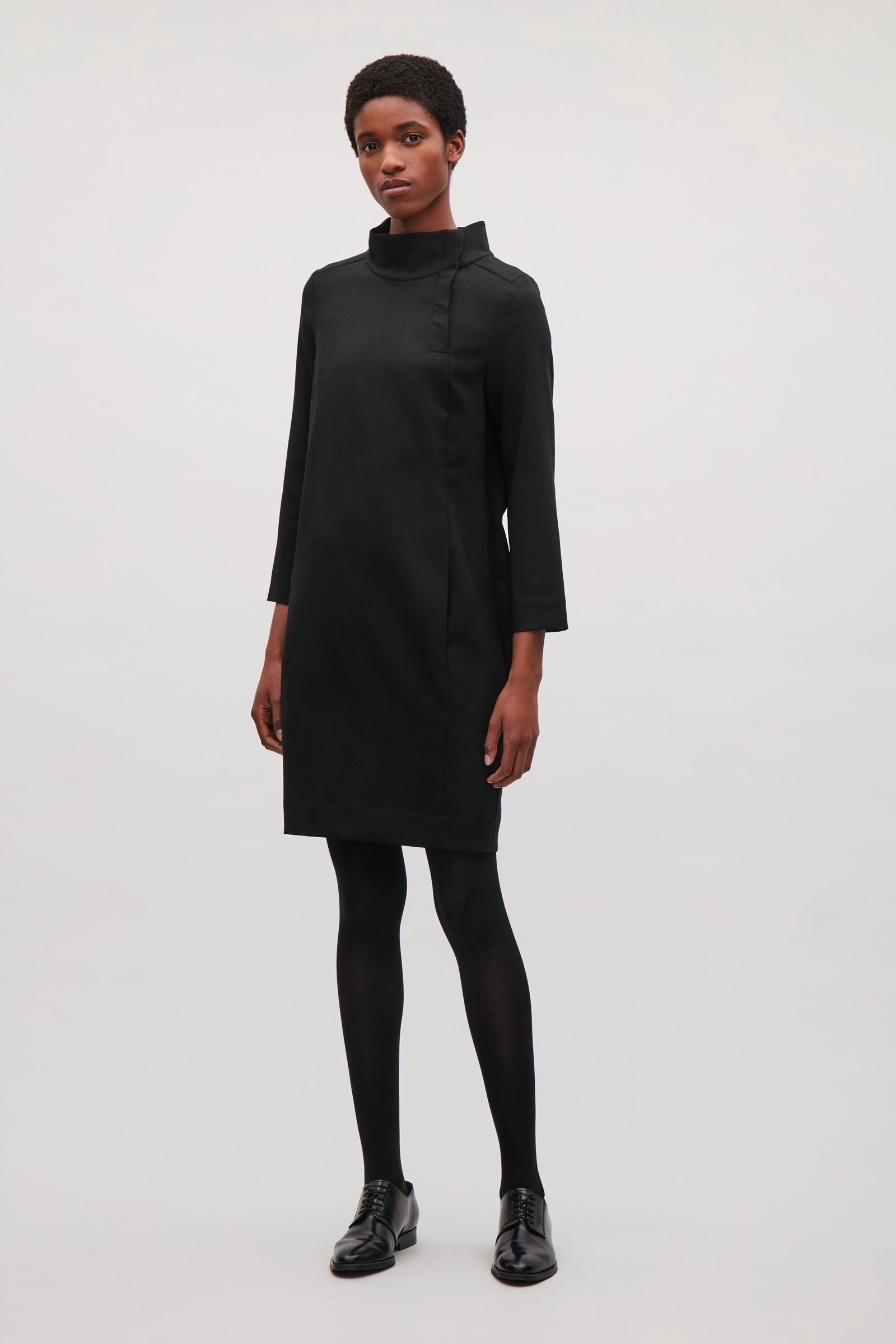 44b29c83c6be8 WOOL DRESS WITH BUTTON OPENING - black by COS | Products | Dresses ...