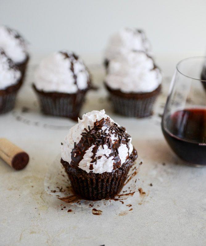 Dark Chocolate Fudge Merlot Cupcakes