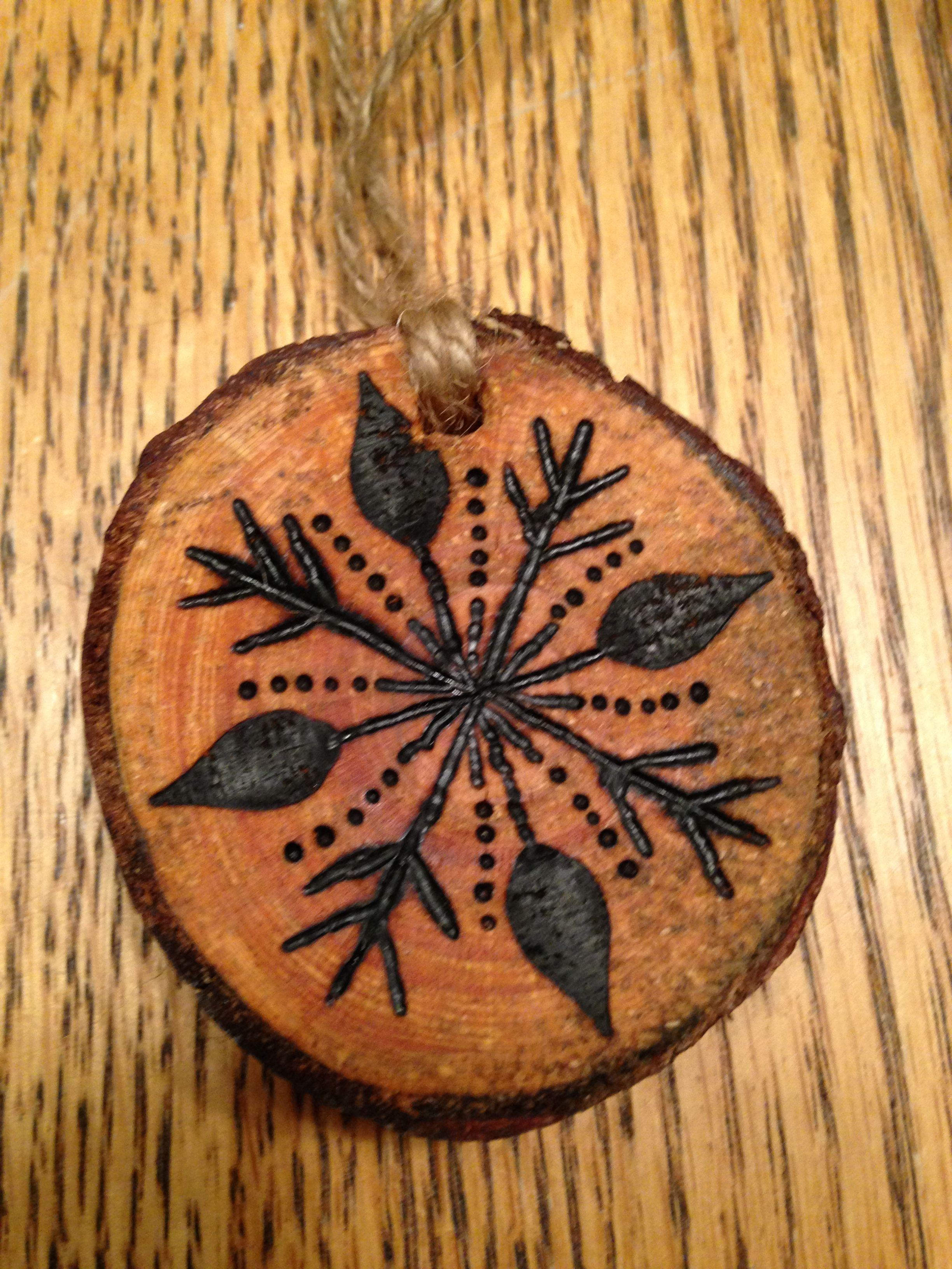 Rustic Snowflake Wood Burned Christmas Ornament Natural Wood Wood Burning Patterns Wood Burning Art Wood Ornaments
