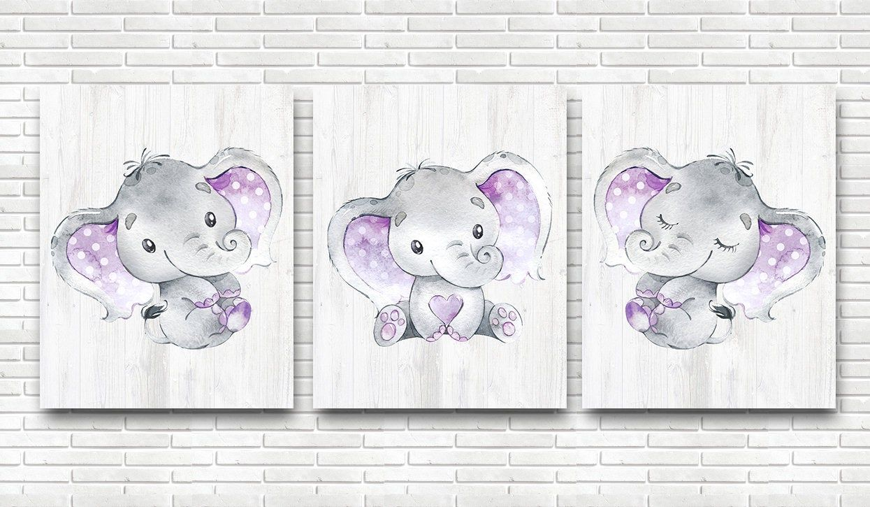 Gray Purple Elephant Wall Decor Elephant Poster Nursery Artwork Elephant Art Canvas Print Stickers Print Baby Girl Nursery Decor Set Of 3 In 2020 Elephant Nursery Canvas Baby Boy Nursery Decor Elephant Poster