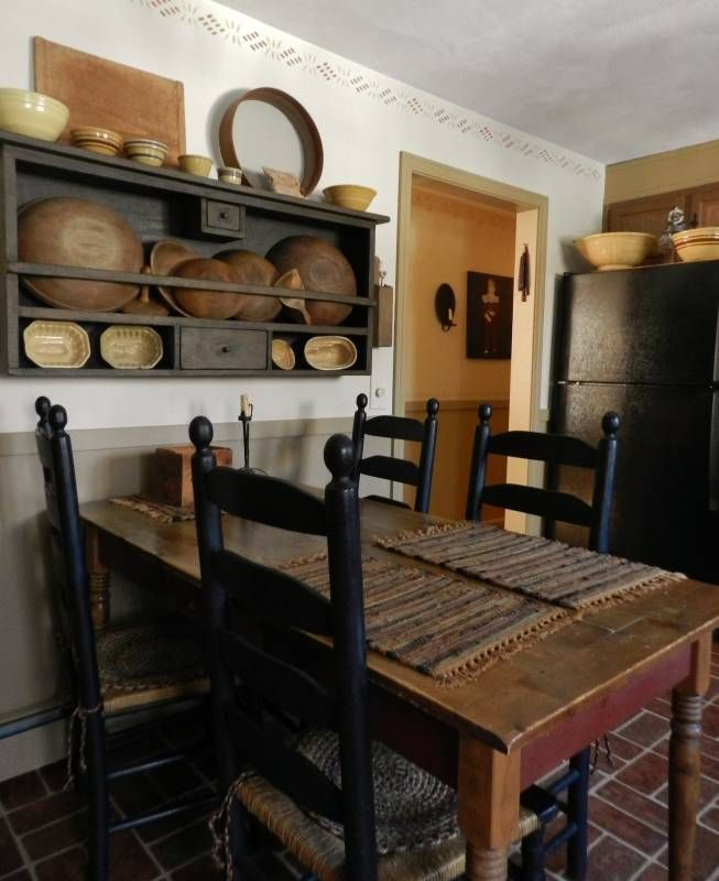 Primitive Kitchen Table And Chairs: Great Eating Area Arrangement. I Can See This In My House