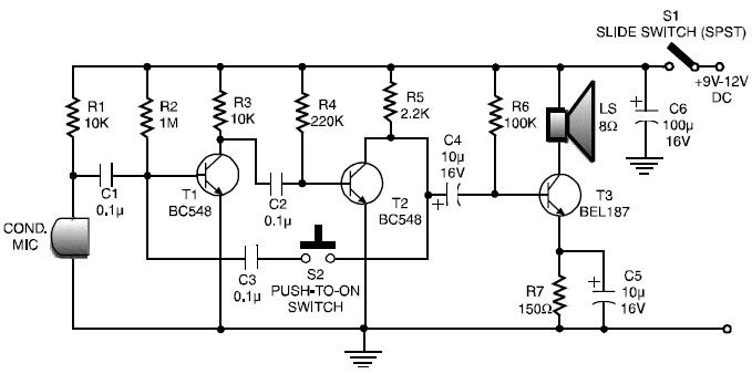 transistor intercom system circuit diagram