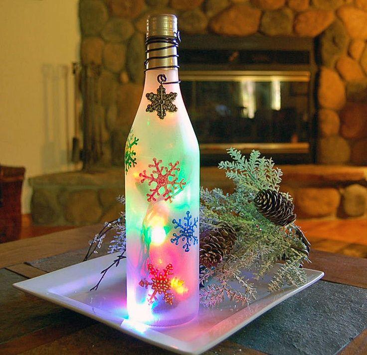Christmas Wine Bottle Decorations   Wine Bottle Light, Snowflakes, Christmas  Decoration. $23.00,
