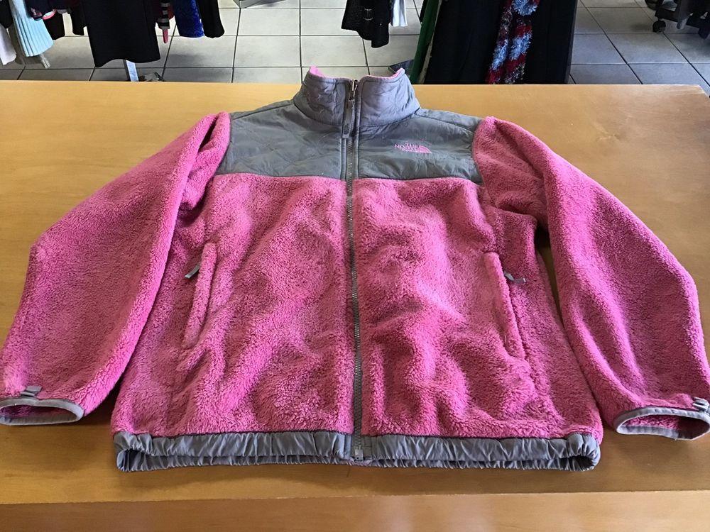 76e3b2950496 Girls THE NORTH FACE Denali Floral Pattern XL 18 Pink Fleece Jacket ...