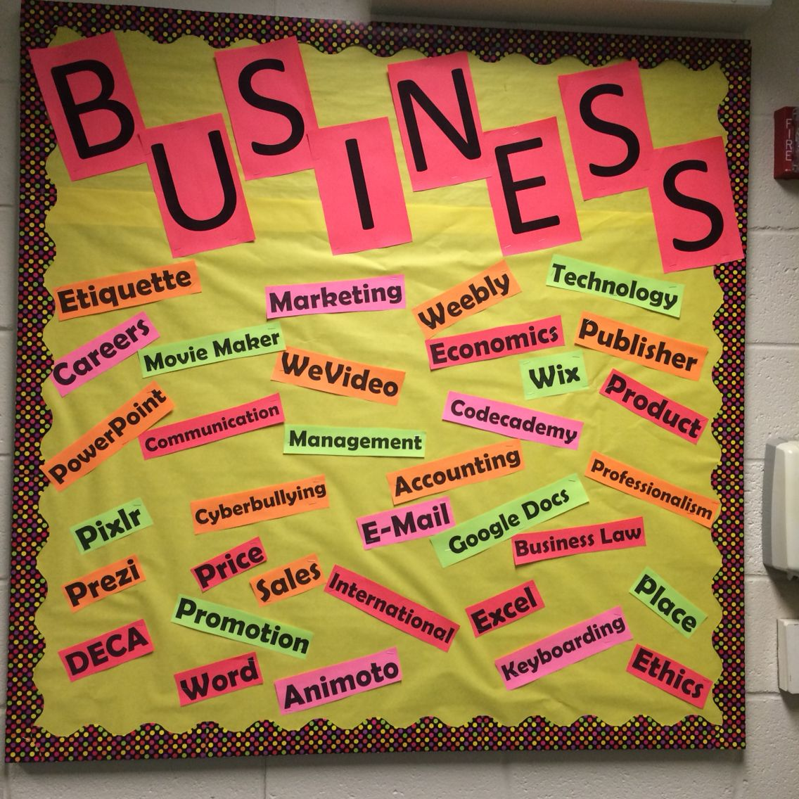Business Marketing Bulletin Board Word Wall | Made By Me :) | Pinterest
