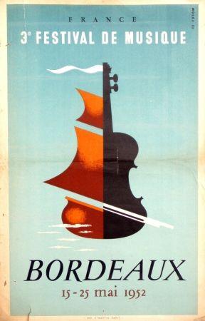 3 festival de musique bordeaux by moles vintage poster. Black Bedroom Furniture Sets. Home Design Ideas