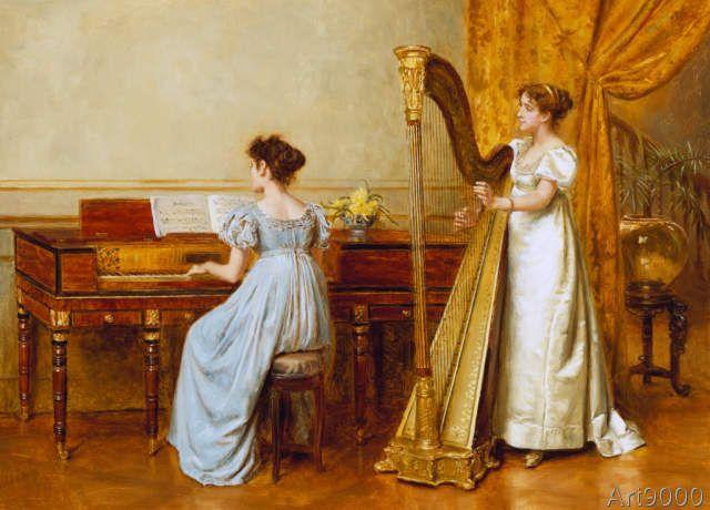 George Goodwin Kilburne - Zwei musizierende Frauen - Das Musikzimmer