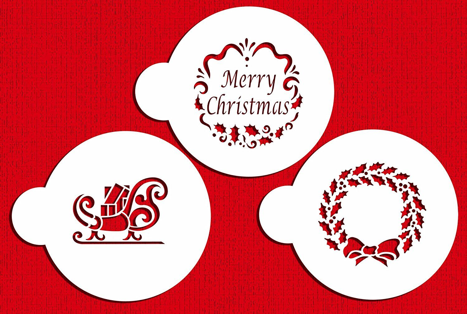 Designer Stencils C385 Holiday Christmas Greetings Cake Stencils, Beige/semi-transparent * Startling big discounts available here : Baking desserts tools