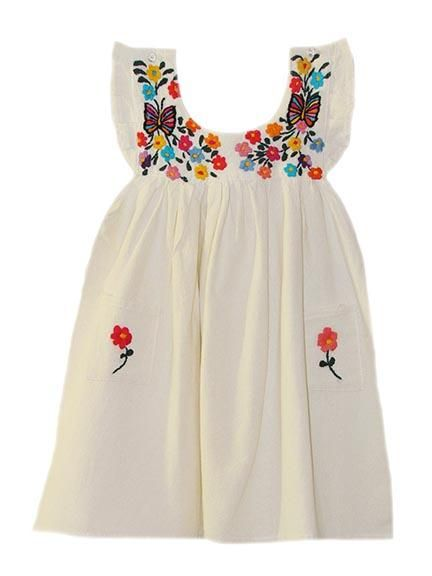 b653890ee9f Girl s Butterfly   Flower Embroidered Mexican Dress