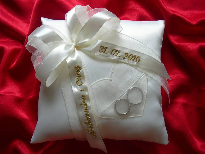 Personalised Wedding Ring Cushion Pillow With Heart 59 Colours Pouch