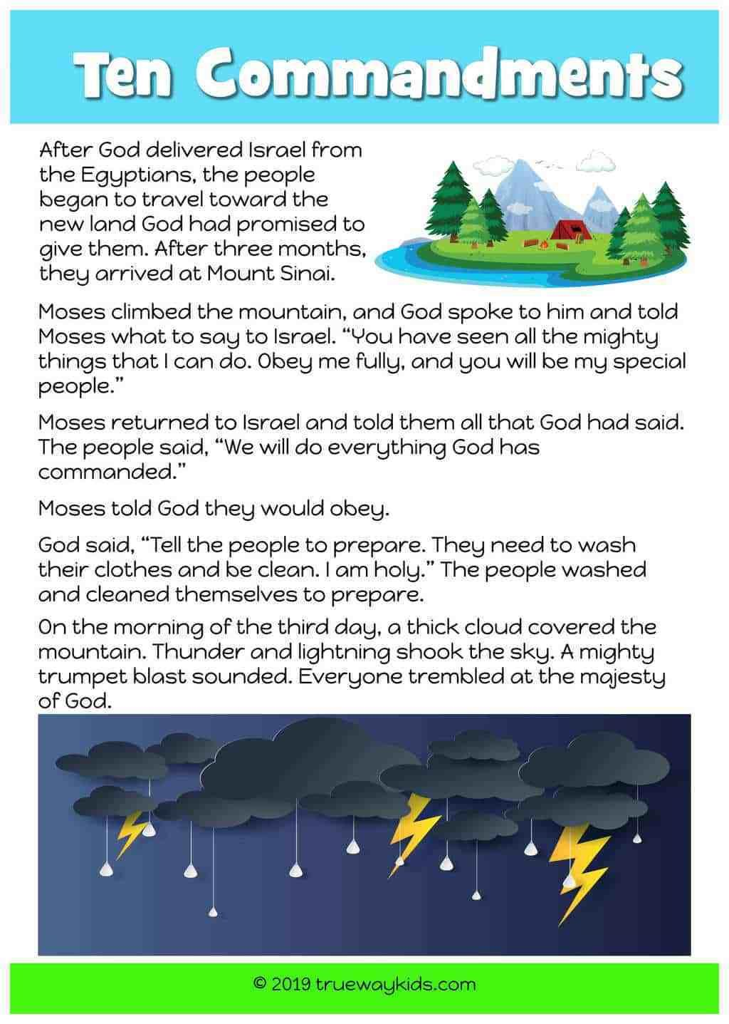 The Ten Commandments Free Printable Bible Story For