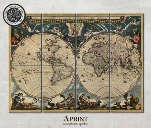Large Vintage World Map On 4 Panel Canvas Ready To Hang Vintage World Maps Framed Poster Print Vintage Maps