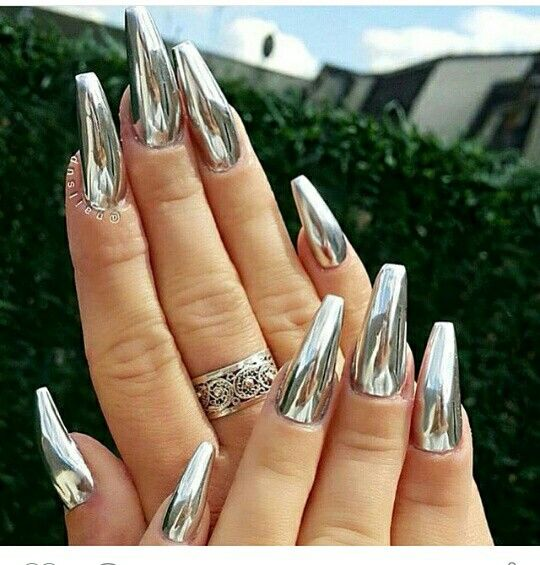 Silver False Nails Stiletto Metallic Shiny Bling Fake Nail Tips Mirror Chrome Health & Beauty Artificial Nail Tips