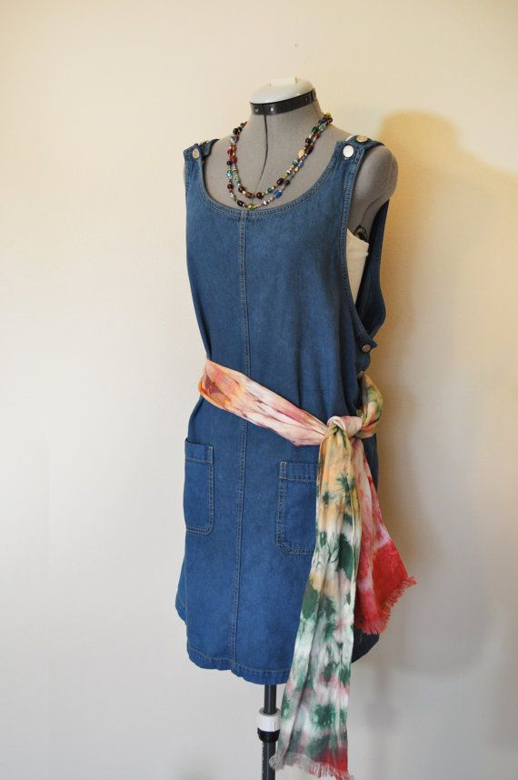 2953996db3f Blue 2X Denim Overall DRESS Jumper - Blue Green Overdyed Upcycled ...
