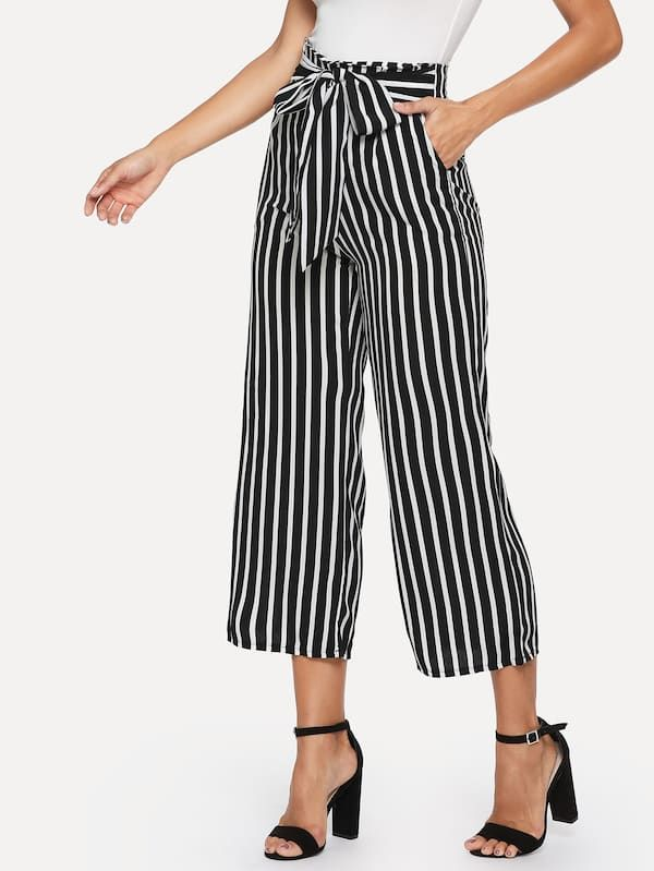 18f64fed39 Knot Front Striped Wide Leg Pants -SHEIN(SHEINSIDE) | Fashion in ...