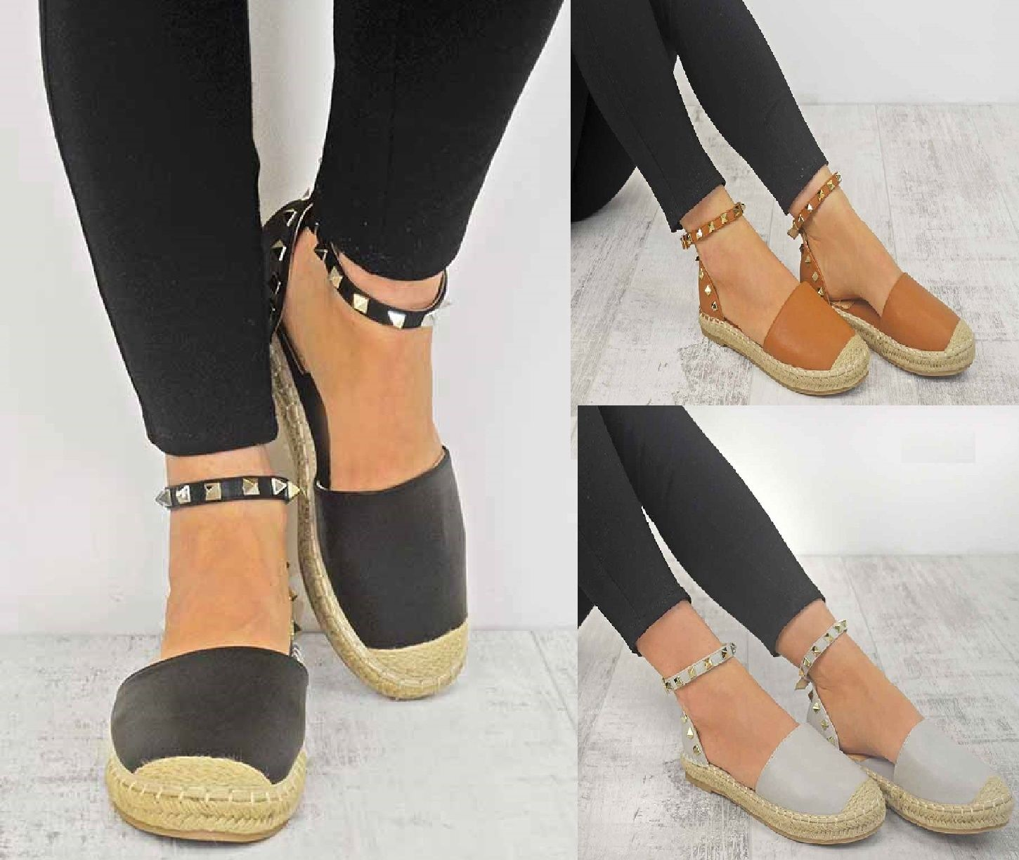 LADIES STUDDED FLAT HEEL COMFY ESPADRILLES WOMENS HOLIDAY SANDALS SHOES SIZE 3-8