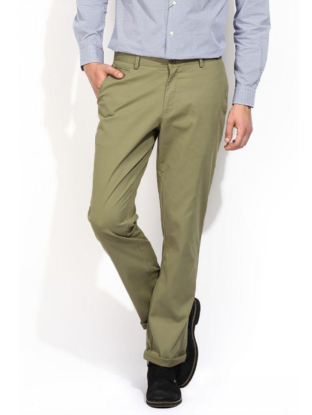 e584aabc576 Blackberry Sharp Fit Cotton Casual Olive Men Trouser