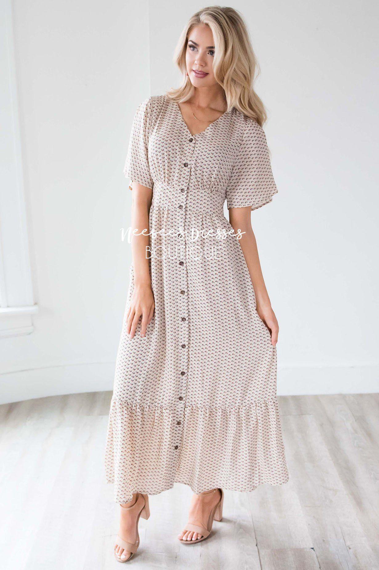 09830cd9ee1 Taupe Printed Nursing Modest Dress