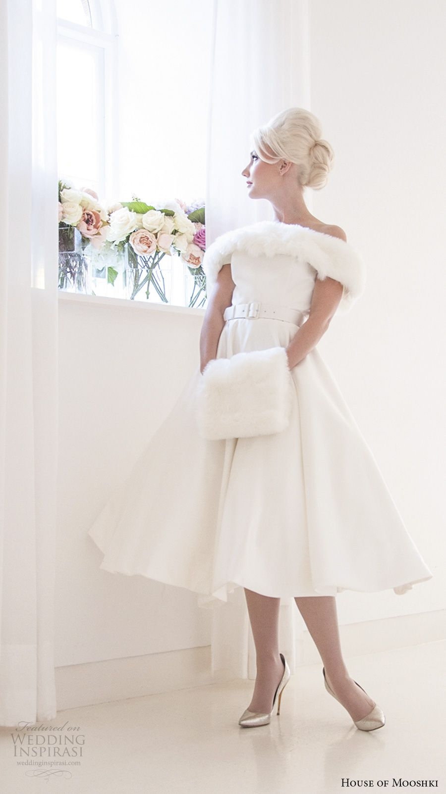 Off the shoulder tea length wedding dress  House of Mooshki  Wedding Dresses  Winter shorts Short wedding