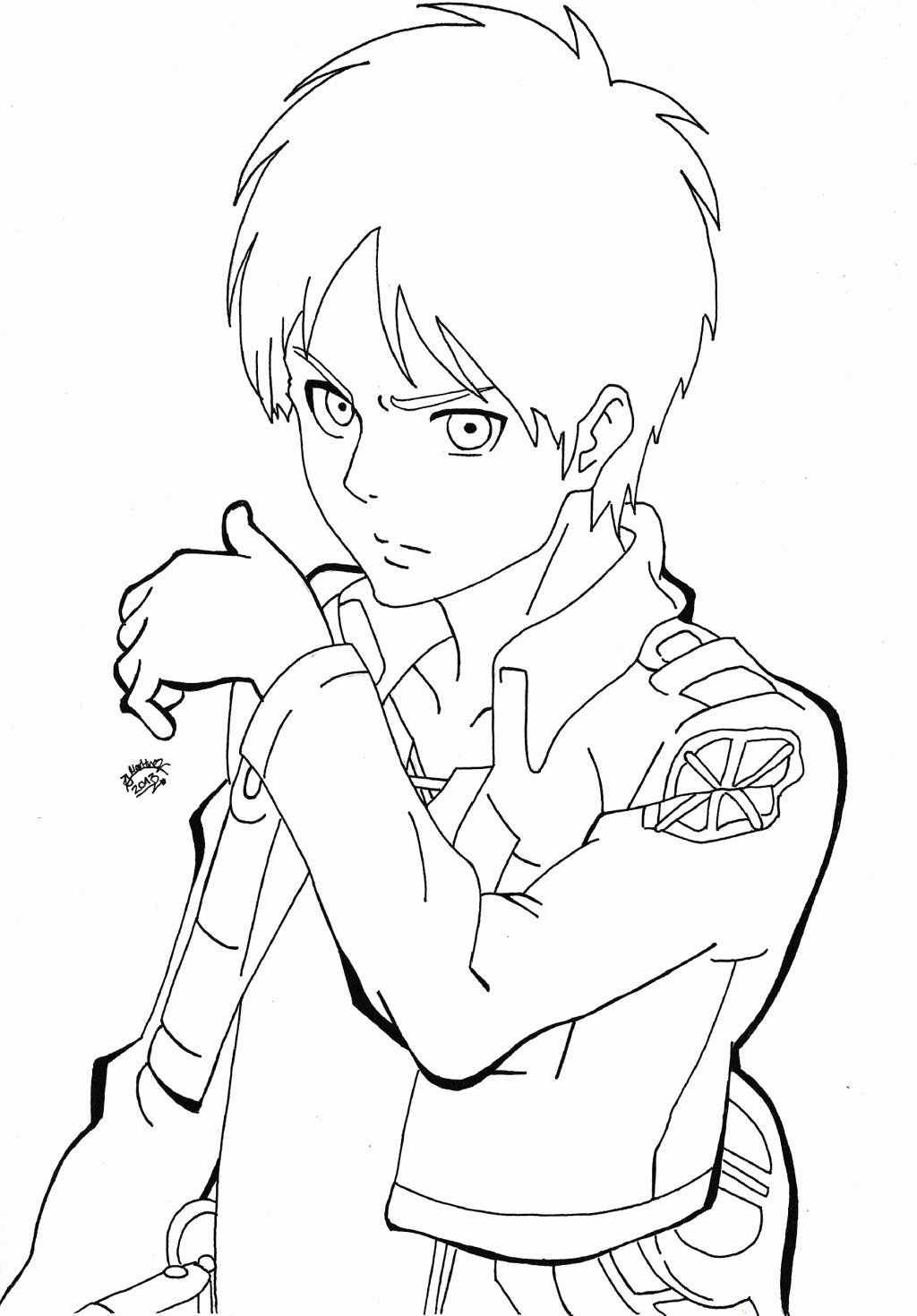 Attack On Titan Coloring Page Lovely Shingeki No Kyojin Eren Jaeger Lineart By Triigun On Coloring Pages Naruto Sketch Dragon Ball Super Art