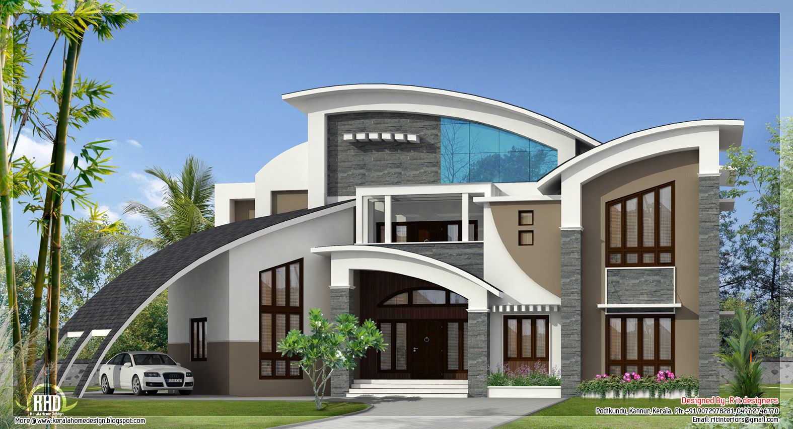 Unique super luxury kerala villa kerala home design and for Modern unique house plans