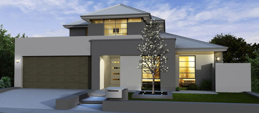 Modern House Exterior Grey Beige Double Storey Gray House