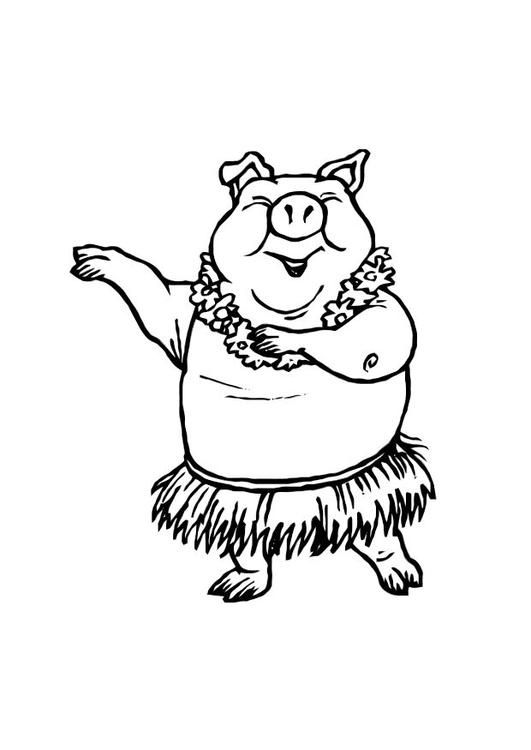 Coloring Page Dancing Pig Img 10764 Funny Kid Drawings Animal Coloring Pages Coloring Pages