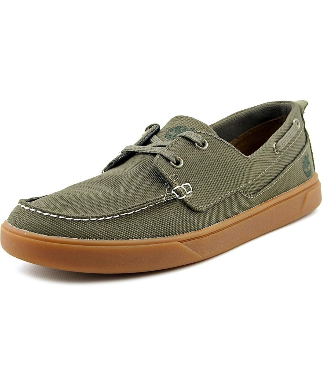 Timberland Groveton Boat Oxford Men Moc Toe Canvas Boat Shoe In